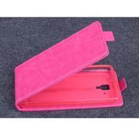 PU kožené flipové pouzdro na Lenovo A536 - rose