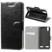 Peňaženkové PU kožené puzdro pre Lenovo A6000 - čierne