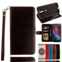 Mandala PU kožené pouzdro na na mobil Lenovo Moto G4 a G4 Plus - černé