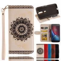 Mandala PU kožené pouzdro na na mobil Lenovo Moto G4 a G4 Plus - béžové