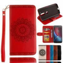 Mandala PU kožené pouzdro na na mobil Lenovo Moto G4 a G4 Plus - červené