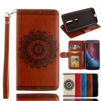Mandala PU kožené pouzdro na na mobil Lenovo Moto G4 a G4 Plus - hnědé
