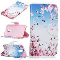 Emotive knížkové pouzdro na mobil Lenovo Moto G4 a G4 Plus - růžové květiny
