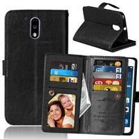 Slots PU kožené pěněženkové pouzdro na mobil Lenovo G4 a G4 Plus - černé