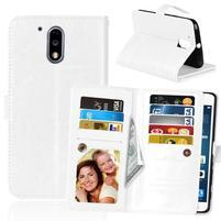 Slots PU kožené pěněženkové pouzdro na mobil Lenovo G4 a G4 Plus - bílé