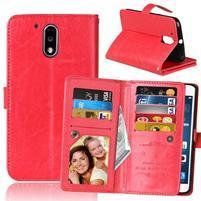 Slots PU kožené pěněženkové pouzdro na mobil Lenovo G4 a G4 Plus - červené