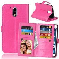 Slots PU kožené pěněženkové pouzdro na mobil Lenovo G4 a G4 Plus - rose