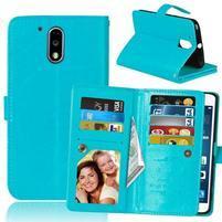 Slots PU kožené pěněženkové pouzdro na mobil Lenovo G4 a G4 Plus - světlemodré