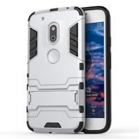 Hybridní odolný obal na mobil Lenovo Moto G4 Play - stříbrný