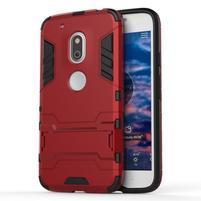 Hybridní odolný obal na mobil Lenovo Moto G4 Play - červený