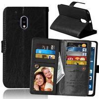 Slots9 PU kožené peněženkové pouzdro na Lenovo Moto G4 Play - černé
