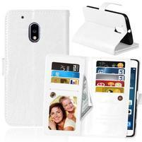 Slots9 PU kožené peněženkové pouzdro na Lenovo Moto G4 Play - bílé