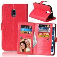 Slots9 PU kožené peněženkové pouzdro na Lenovo Moto G4 Play - červené