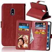Slots9 PU kožené peněženkové pouzdro na Lenovo Moto G4 Play - hnědé