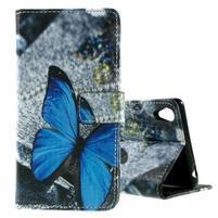 PU kožené peněženkové pouzdro na Lenovo S850 - modrý motýl