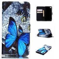 Style peněženkové pouzdro na mobil Lenovo S90 - modrý motýl