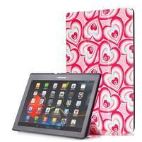 Polohovatelné pouzdro na tablet Lenovo Tab 2 A10-70 - srdíčka
