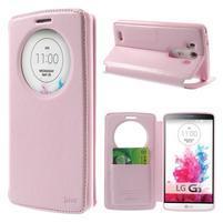 Roar peněženkové pouzdro s okýnkem na LG G3 - růžové