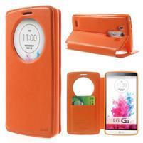 Roar peněženkové pouzdro s okýnkem na LG G3 - oranžové