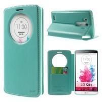 Roar peněženkové pouzdro s okýnkem na LG G3 - cyan