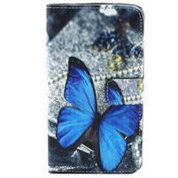 Obrázkové koženkové pouzdro na mobil LG G3 - modrý motýl