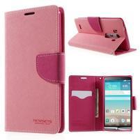Cross PU kožené pouzdro na LG G3 - růžové