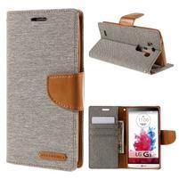 Canvas PU kožené/textilní pouzdro na LG G3 - šedé