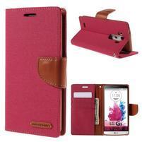 Canvas PU kožené/textilní pouzdro na LG G3 - rose