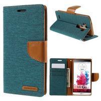Canvas PU kožené/textilní pouzdro na LG G3 - zelené