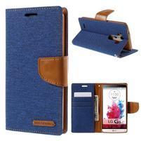 Canvas PU kožené/textilní pouzdro na LG G3 - modré