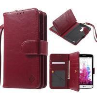 Patrové peněženkové pouzdro na mobil LG G3 - vínově červené