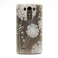 Průhledný gelový obal na LG G3 - bílá pampeliška