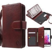 Patrové peněženkové pouzdro na mobil LG G3 - hnědé