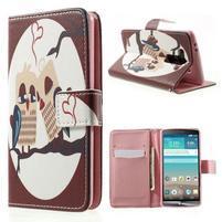 Zapínací peněženkové pouzdro pro LG G3 s - zamilovaní ptáčci