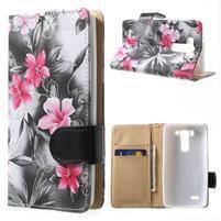 Elegantní lilie peněženkové pouzdro na LG G3 s - černé