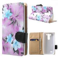 Elegantní lilie peněženkové pouzdro na LG G3 s - fialové