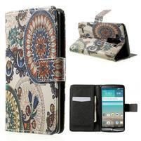 Zapínací peněženkové pouzdro pro LG G3 s - květina mandala