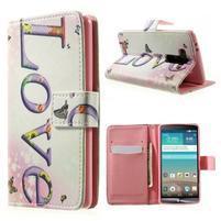 Zapínací peněženkové pouzdro pro LG G3 s - love