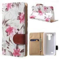 Elegantní lilie peněženkové pouzdro na LG G3 s - bílé