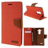 Canvas PU kožené/textilní pouzdro na mobil LG G4 - oranžové
