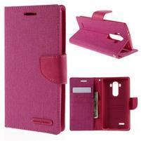 Canvas PU kožené/textilní pouzdro na mobil LG G4 - rose