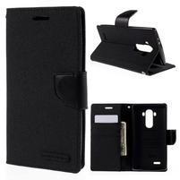 Canvas PU kožené/textilní pouzdro na mobil LG G4 - černé