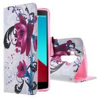 Call peněženkové pouzdro na LG G4 - fialový květ