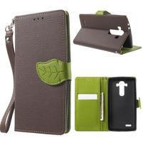 Leaf peněženkové pouzdro na mobil LG G4 - hnědé