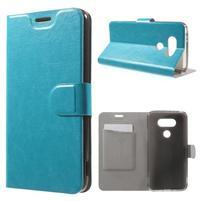Horse PU kožené peněženkové pouzdro na LG G5 - modré
