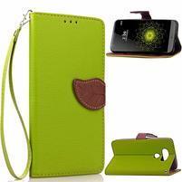 Leaf PU kožené pouzdro na LG G5 - zelené