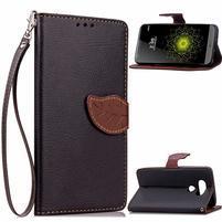 Leaf PU kožené pouzdro na LG G5 - černé