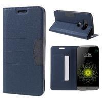 Klopové peneženkové pouzdro na LG G5 - tmavěmodré