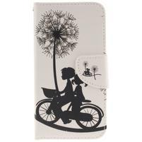 Obrázkové koženkové pouzdro na LG G5 - láska na kole