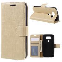 Cloth koženkové peněženkové pouzdro na LG G5 - béžové